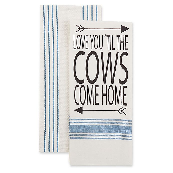 Alternate image 1 for Bee & Willow™ Home 2-Pack Cows Come Home Kitchen Towels in Blue/White