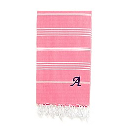 Linum Home Textiles Lucky Monogram Script Letter Pestemal Beach Towel in Pretty Pink