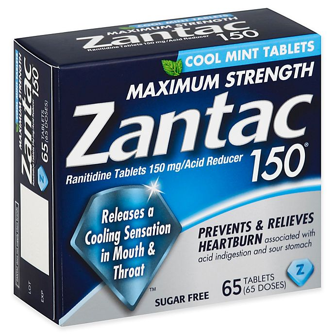 Alternate image 1 for Zantac 150® 65-Count Maximum Strength Acid Reducer Tablets in Cool Mint