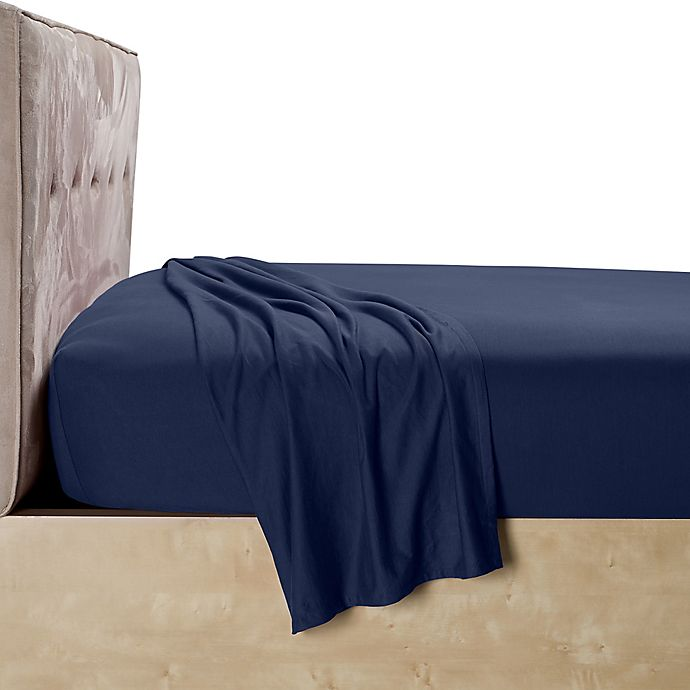 Alternate image 1 for Calvin Klein Harrison Twin Flat Sheet in Navy