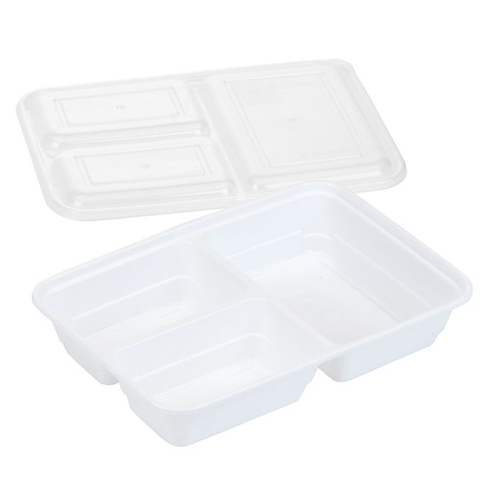 Alternate image 1 for GoodCook Meal Prep 3-Compartment Food Storage Containers (10-Pack) in White