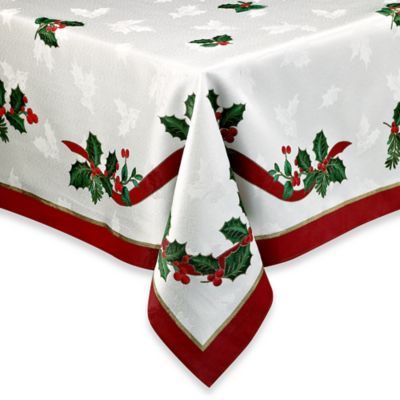 Christmas Tablecloths.Holiday Ribbon Damask Tablecloth