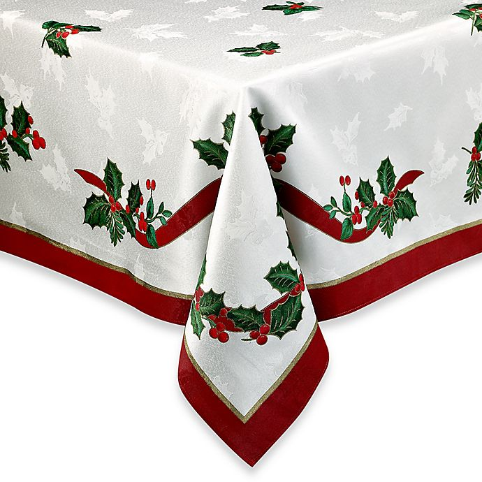 Alternate image 1 for Holiday Ribbon Damask 70-Inch Round Tablecloth