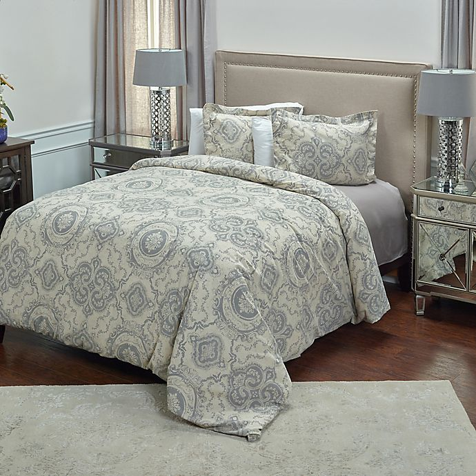 Alternate image 1 for Rizzy Home Elma Medallion Queen Duvet Cover Set in Grey