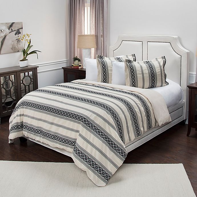 Alternate image 1 for Rizzy Home Geometric Stripe Queen Duvet Cover Set in Brown