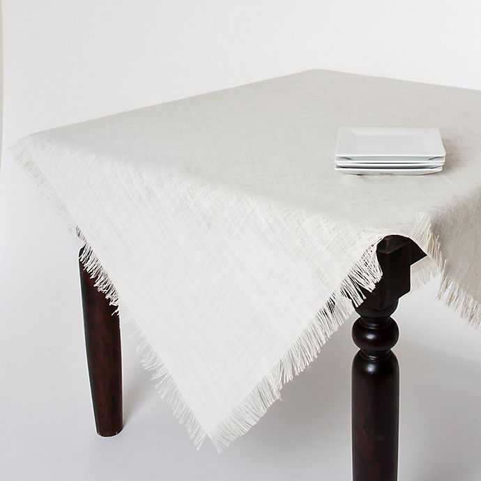 Alternate image 1 for Saro Lifestyle Mari Sati 60-Inch Square Fringed Tablecloth in Ivory