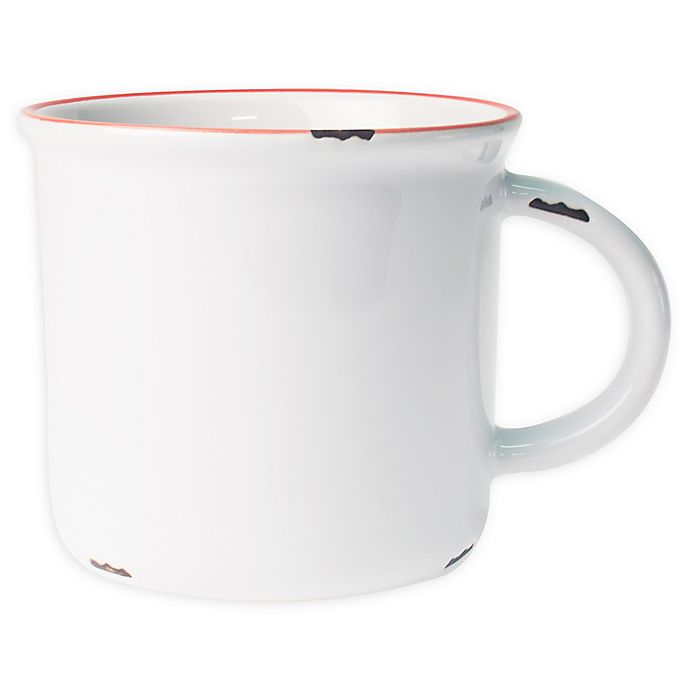 Alternate image 1 for canvas home™ Tinware Mugs in White/Red (Set of 4)