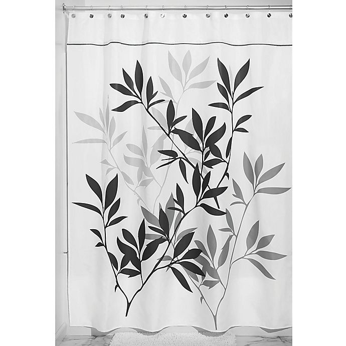 Alternate image 1 for iDesign® 54-Inch x 78-Inch Leaves Fabric Shower Curtain in Black/Gray