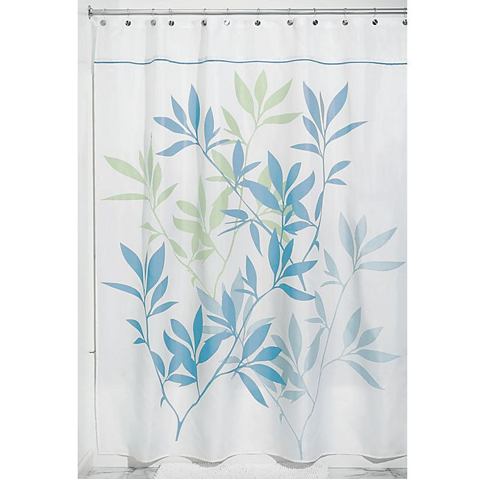 Alternate image 1 for iDesign® 54-Inch x 78-Inch Leaves Fabric Shower Curtain in Soft Blue/Green