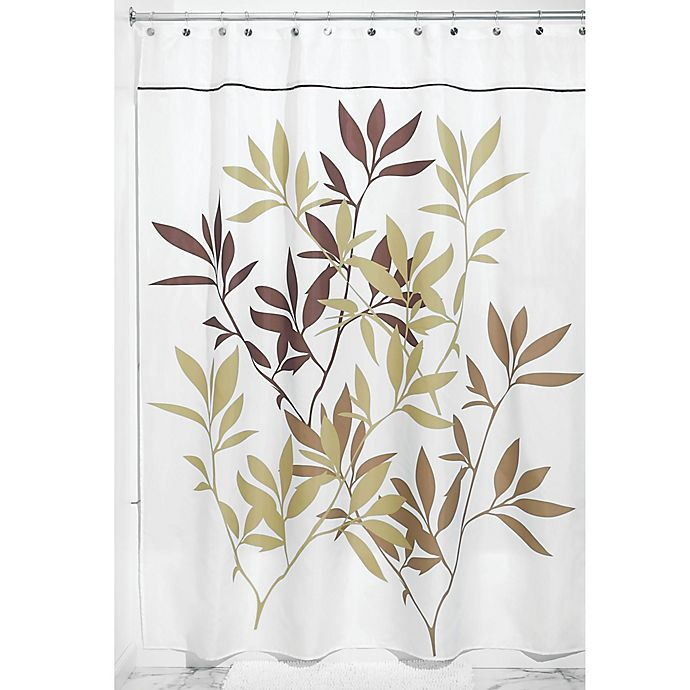 Alternate image 1 for iDesign® 72-Inch x 84-Inch Leaves Fabric Shower Curtain in Brown