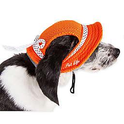 Pet Life®  Sea Spot Large Mesh Brimmed Pet Hat in Orange