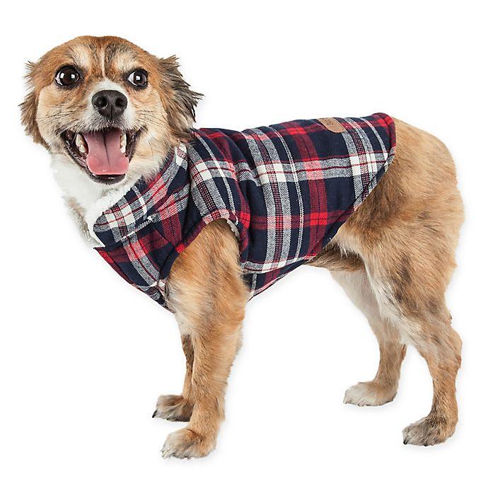 Alternate image 1 for Pet Life® Puddler Plaid Insulated Dog Coat in Black