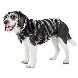Pet Life® Luxe Chauffury Large Faux Zebra Mink Fur Dog Coat in Black