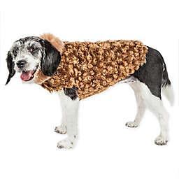 Pet Life® Luxe Furpaw Medium Shaggy Faux Fur Dog Coat in Golden Brown