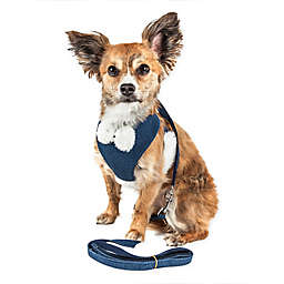 Pet Life® LUXE Draper 2-in-1 Mesh Adjustable Dog Harness in Blue