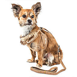 Pet Life® Small LUXE Furracious 2-in-1 Mesh Adjustable Dog Harness in Khaki