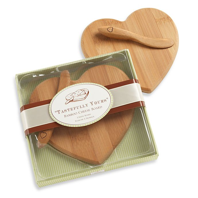 Alternate image 1 for Kate Aspen® Tastefully Yours Heart-Shaped Bamboo Cheese Board
