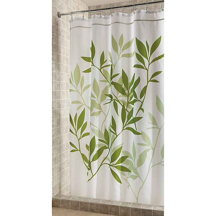 Alternate image 1 for iDesign® 72-Inch x 96-Inch Leaves Fabric Shower Curtain in Green