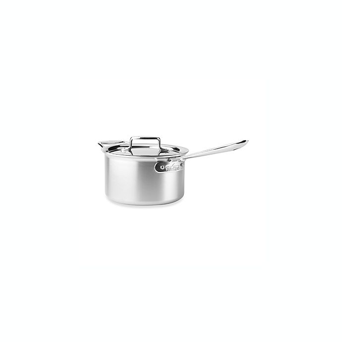 Alternate image 1 for All-Clad d5® 4 qt. Brushed Stainless Steel Covered Saucepan