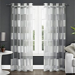 Navaro Grommet Sheer Window Curtain Panel Pair in Winter White