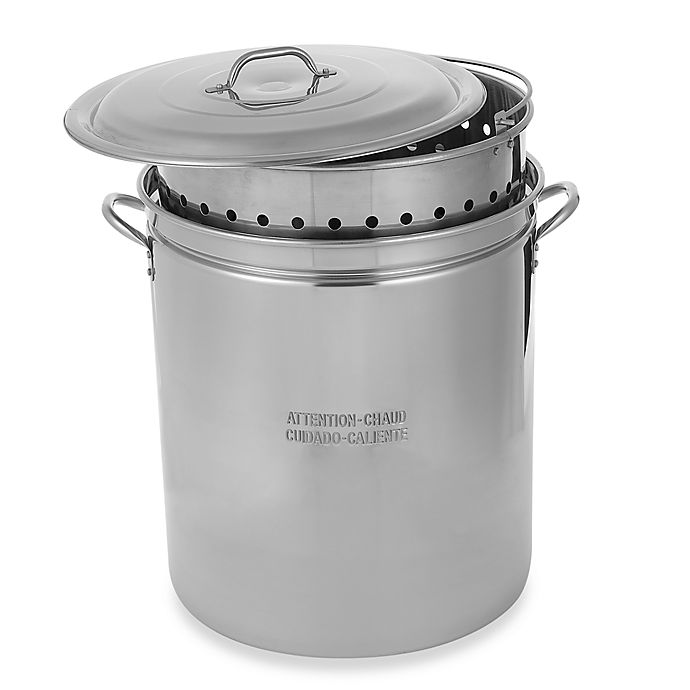 Alternate image 1 for King Kooker® 62-Quart Lidded Stainless Steel Pot with Steamer Rim