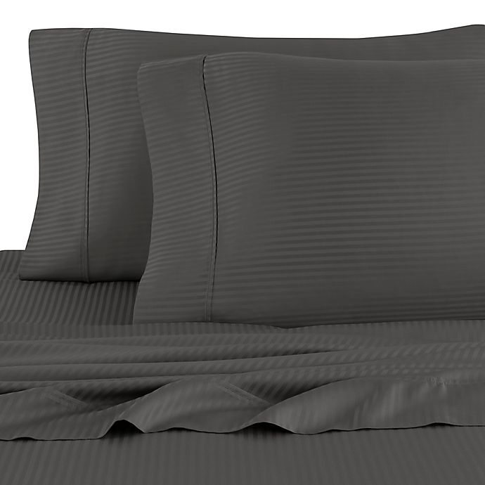 Alternate image 1 for Eucalyptus Origins™ 450-Thread-Count Striped King Pillowcases in Grey (Set of 2)