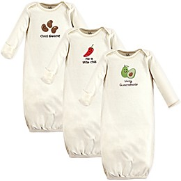 Touched by Nature Size 0-6M 3-Pack Guacamole Gowns