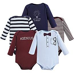 Little Treasures 5-Pack Genius Bodysuits in Blue