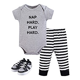 Little Treasures 3-Piece Nap Hard Bodysuit, Pant, and Shoe Set in Grey