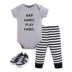 Little Treasures Size 9-12M 3-Piece Nap Hard Bodysuit, Pant, and Shoe Set in Grey