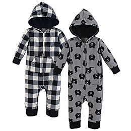 Yoga Sprout 2-Pack Bear Fleece Union Suit in Black