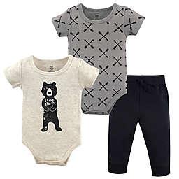 Yoga Sprout 3-Piece Bear Hugs Bodysuit & Pants Set