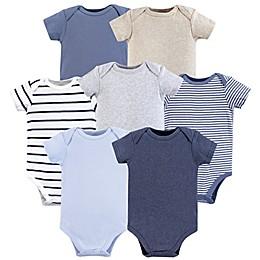 Hudson Baby® 7-Pack Boy Basic Short Sleeved Bodysuits in Blue