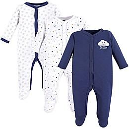 Hudson Baby® 3-Pack Clouds Sleep & Play Pajamas in Navy