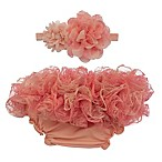 So 'Dorable™ 2-Piece Ruffle Lace Headband and Diaper Cover Set in Coral