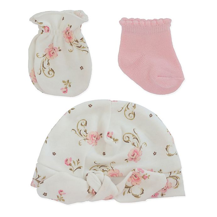 Alternate image 1 for Little Me® 3-Piece Vintage Rose Bootie, Mitt, and Cap Set in Pink/White