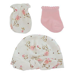Little Me® 3-Piece Vintage Rose Bootie, Mitt, and Cap Set in Pink/White