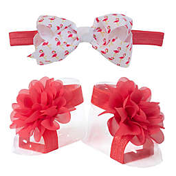So 'Dorable™ 2-Piece Flamingo Headwrap and Foot Wrap Set in Hot Pink