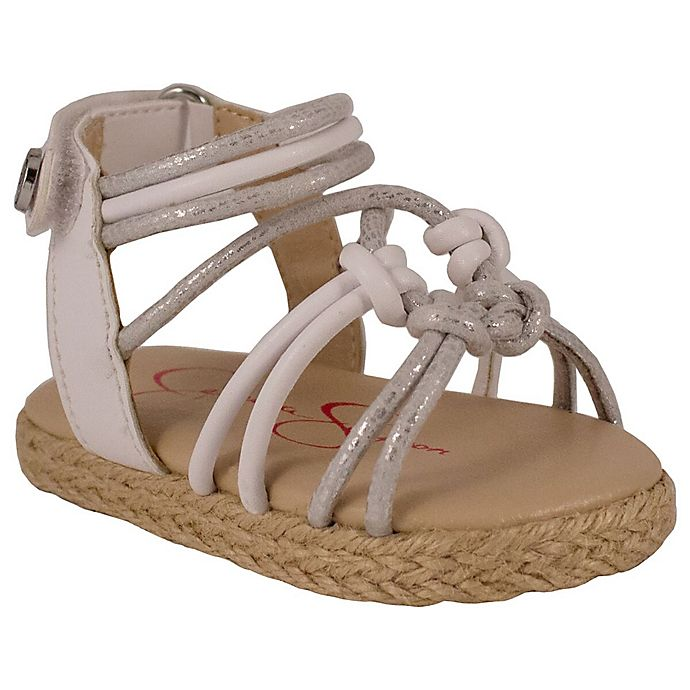 Alternate image 1 for Jessica Simpson Raye Braided 9-12M Sandal in Silver/White