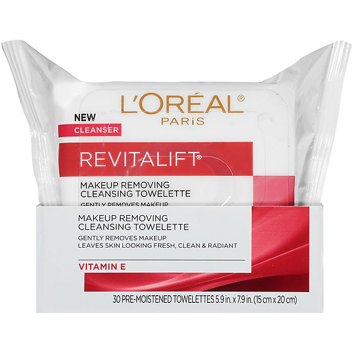 Alternate image 1 for L'Oréal® Paris Revitalift 30 Count Radiant Smoothing Facial Cleansing Towelettes
