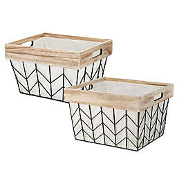 Whitmor Chevron Wire Tote Basket with Border and Liner in Natural