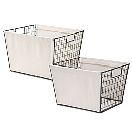 Whitmor Wire Tote Basket with Canvas in Natural
