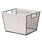 Whitmor Medium Wire Tote Basket with Canvas in Natural