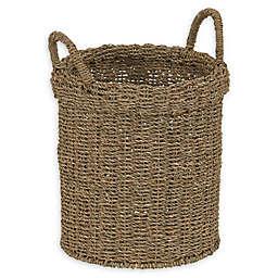 Household Essentials Round Wicker Basket in Natural