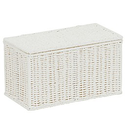 Household Essentials Paper Rope Lidded Wicker Storage Box in White