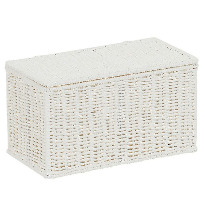 Alternate image 1 for Household Essentials Paper Rope Lidded Wicker Storage Box in White