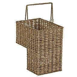 Household Essentials Corn Husk Stairstep Wicker Basket in Natural