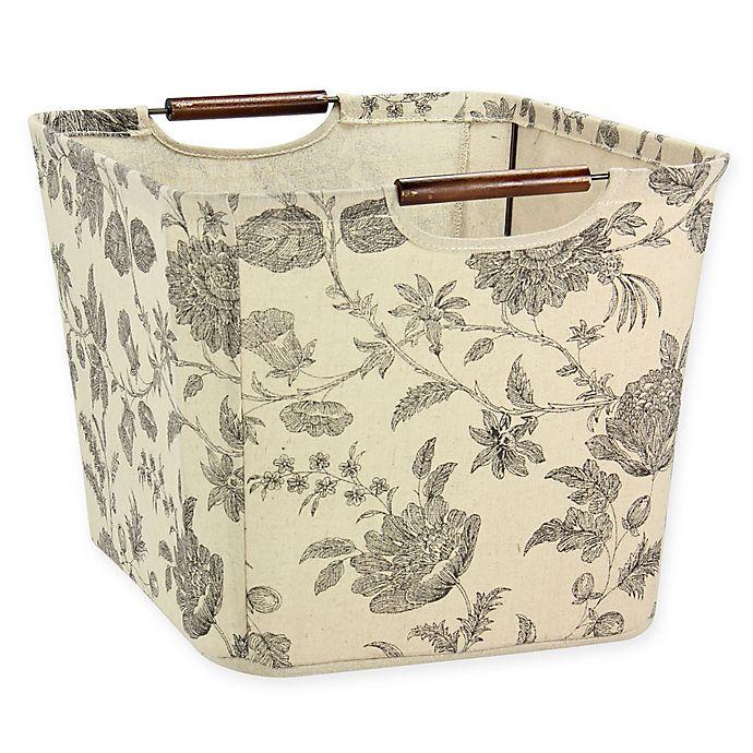 Alternate image 1 for Household Essentials Medium Tapered Storage Bin with Wood Handles in Tan/Black