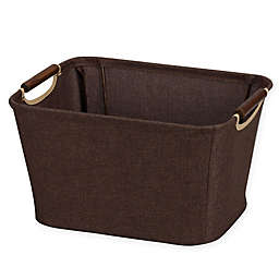 Household Essentials Tapered Storage Bin with Wood Handles in Coffee/Linen
