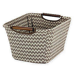 Household Essentials Tapered Storage Bin with Wood Handles in Chevron